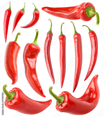 Papiers peints Hot chili Peppers Isolated peppers collection. Various red hot chili peppers isolated on white background with clipping path