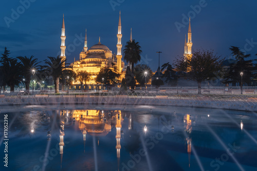 The Sultanahmet Mosque (Blue Mosque) in the morning, Istanbul, Turkey Poster
