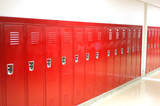 close up on red lockers in gym - 171053192