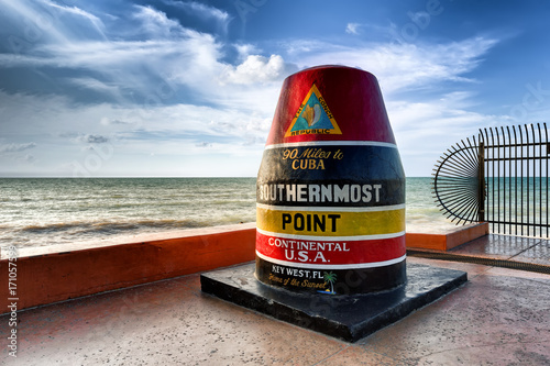 The Key West Buoy sign marking the southernmost point on the continental USA and distance to Cuba, Florida