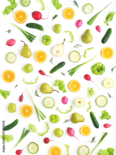Wallpaper abstract composition of fruits and vegetables. Food pattern vegetables. Healthy food concept. Vegetables, top view. - 171058538