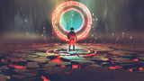 man standing in front of magic circle with red  light, digital art style, illustration painting - 171073725
