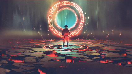 man standing in front of magic circle with red  light, digital art style, illustration painting © grandfailure