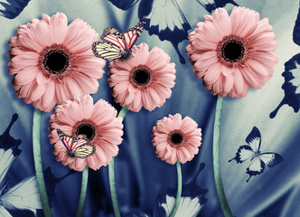 Floral background of chrysanthemums, bright flowers on a gray. Applied a filter with grain.
