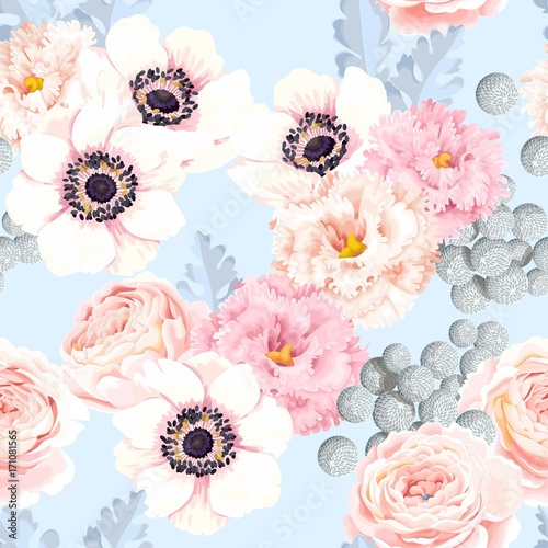 Cotton fabric Seamless pattern with eustoma and roses