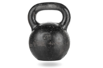 Heavy kettle bell with shadow on white background © unclepodger
