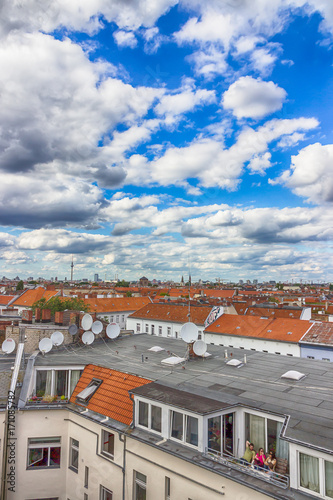 Berlin, Germany, top view. Red roofs and beautiful sky Poster