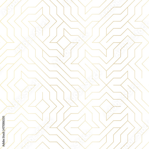 Seamless vector geometric golden line pattern. Abstract background with gold texture on white. Simple minimalistic graphic print. Repeating modern swatch trellis grid. Trendy hipster sacred geometry - 171086330