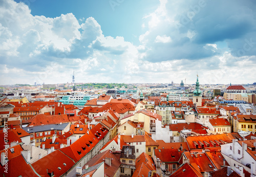 Red roofs in Prague Poster