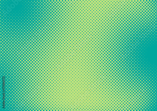 Bright green and turquoise pop art retro background with halftone in comic style, vector illustration eps10 - 171086572