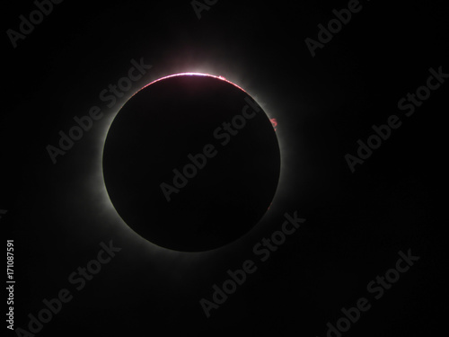 solar eclipse with flares