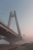 Cable stayed bridge, Krakow, Poland, in the morning fog over Vistula river - 171088195