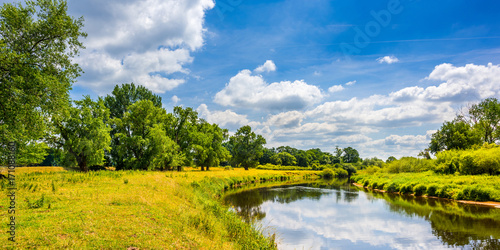 Summer landscape with river and trees