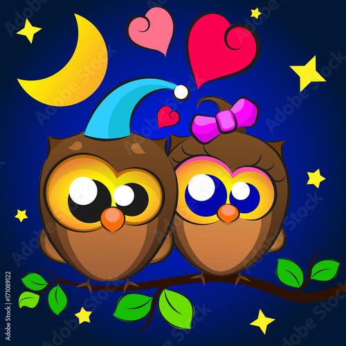 Fotobehang Uilen cartoon Love Two owls