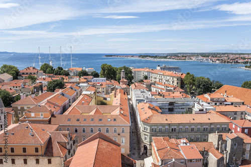 Sticker Zadar city from tower. Dalmatia. Croatia.