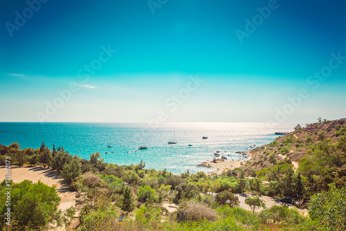 Fotobehang Cyprus Cyprus Protaras, Konnos beach, view of lagoon Mediterranean Sea from above