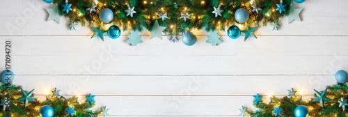 Weihnachten Girlande, Extra Breit, Türkis und Silber Geschmückt - 171094720