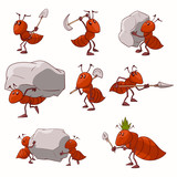 Collection of colorful vector illustrations of cartoon red ant colony - 171096356