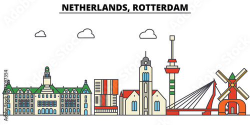 Foto op Plexiglas Rotterdam Netherlands, Rotterdam. City skyline: architecture, buildings, streets, silhouette, landscape, panorama, landmarks. Editable strokes. Flat design line vector illustration concept. Isolated icons