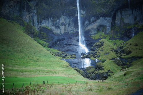 Iceland South Coast Waterfall Poster