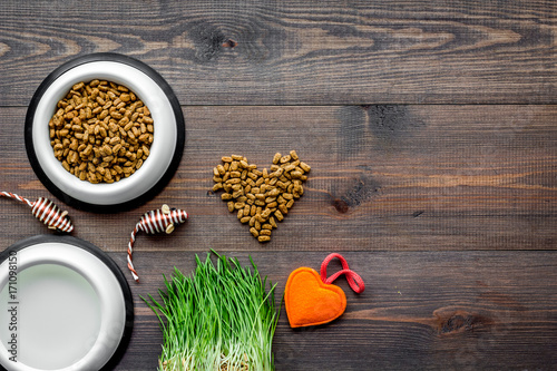 large bowl of pet - cat food with toys on wooden background top view mockup - 171098150