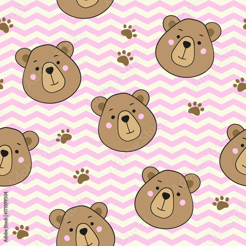 Seamless pattern with cute cartoon teddy bears. Vector template for wrapping paper, bedding pattern for kids, print on clothes.