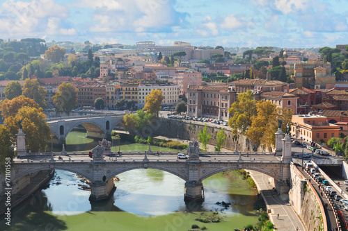 Staande foto Rome bridge Ponte Vittorio II with Tiber river and cityscape of Rome, Italy