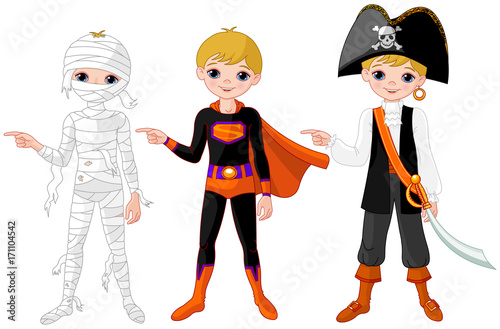 Staande foto Sprookjeswereld Halloween Boy Pointing