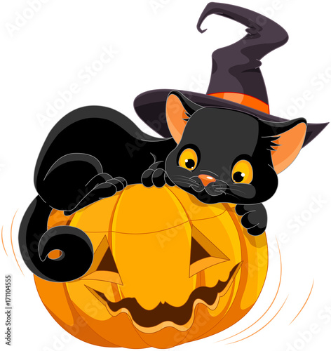 Tuinposter Sprookjeswereld Halloween Kitten