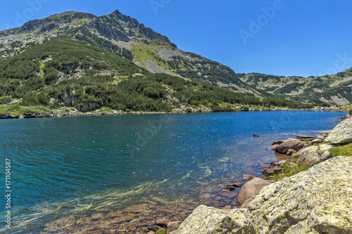 Aluminium Groen blauw Amazing Landscape with Big Valyavishko Lake, Pirin Mountain, Bulgaria
