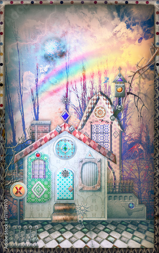 Fotobehang Imagination Fairytales farmhouse in the storm with rainbow.