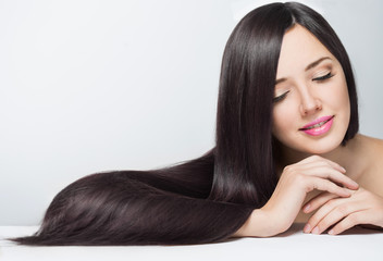 woman with long beautiful hair