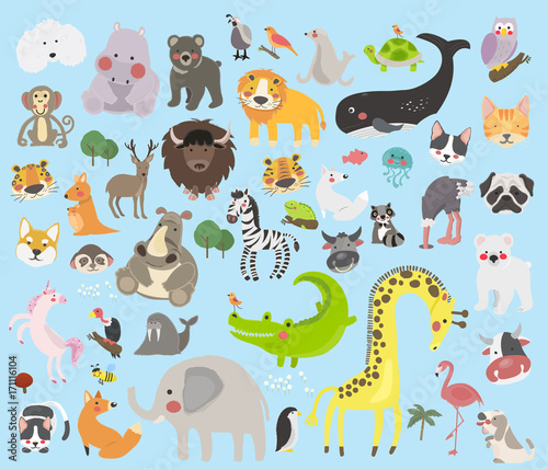 mata magnetyczna Illustration drawing style set of animal