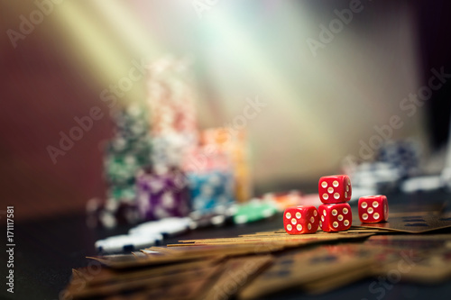 Colorful casino roulette chips of poker. Poster