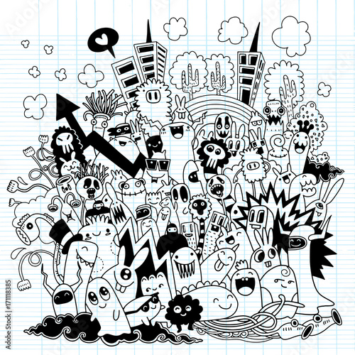 Hand Drawn Vector Illustration of Doodle monster city, illustrator line tools drawing,Flat Design