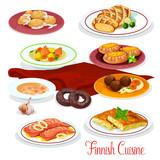 Finnish cuisine fish, vegetable dish cartoon icons