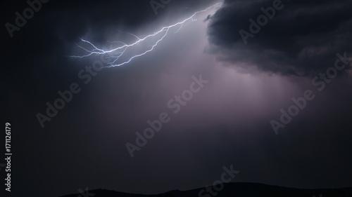 Fotobehang Natuur Lightning strike in the sky