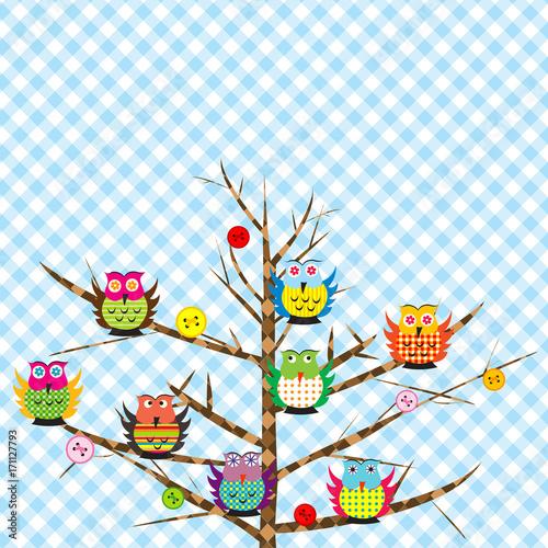 Fotobehang Uilen cartoon Patchwork with cartoon owls