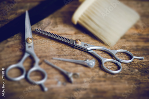 hairdresser tools - tilt shift effect photo Poster