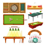 Sport game darts, billiards pool, tennis or bowling vector isolated set