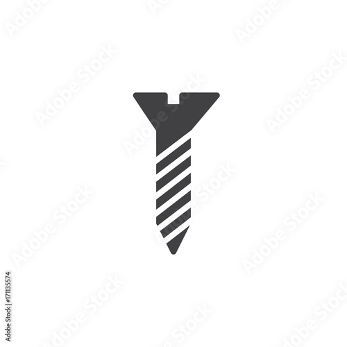 Screw icon vector, filled flat sign, solid pictogram isolated on white. Symbol, logo illustration.