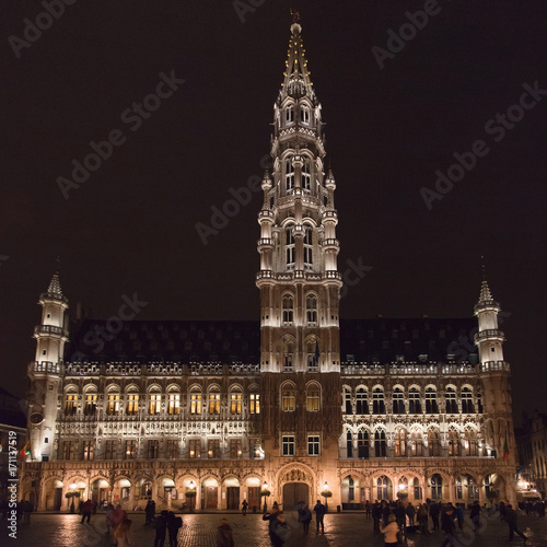 Foto op Canvas Brussel Brussels Town Hall at Night