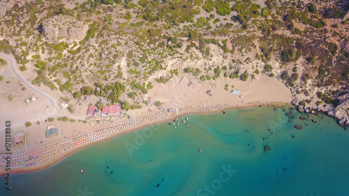Aluminium Groen blauw August 2017: Aerial drone photo of famous Tsabika monastery overlooking iconic Tsabika bay from the cliff with clear turquoise waters, Rhodes island, Aegean, Dodecanese, Greece