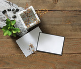 Decorative objects placed on wooden plank surface - 171142192