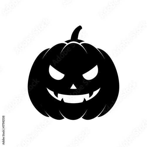 Icono plano silueta calabaza Halloween negro en fondo blanco