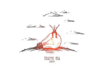 Creative idea concept. Hand drawn man sitting on light bulb. Light bulb as symbol of creative idea isolated vector illustration. © drawlab19