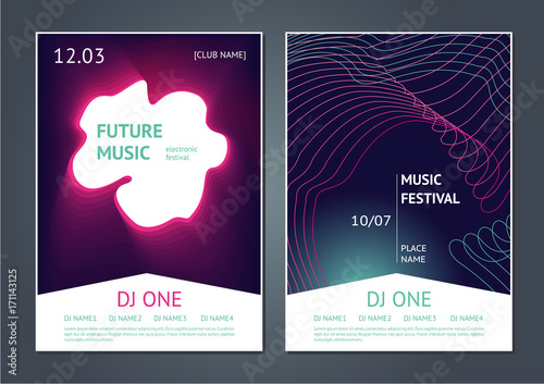 Party music posters design. Future electronic sound. Modern art style. Dance festival