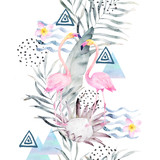 Watercolor summer pattern. Abstract tropical print with geometrical elements. Hand drawn illustration - 171143350