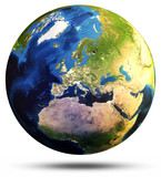 Earth sphere map 3d rendering