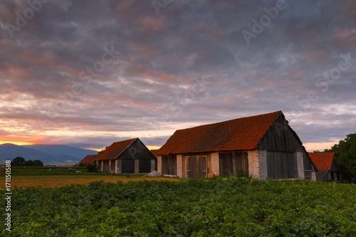 Foto op Canvas Lavendel Traditional barns on the edge of a village in northern Slovakia.